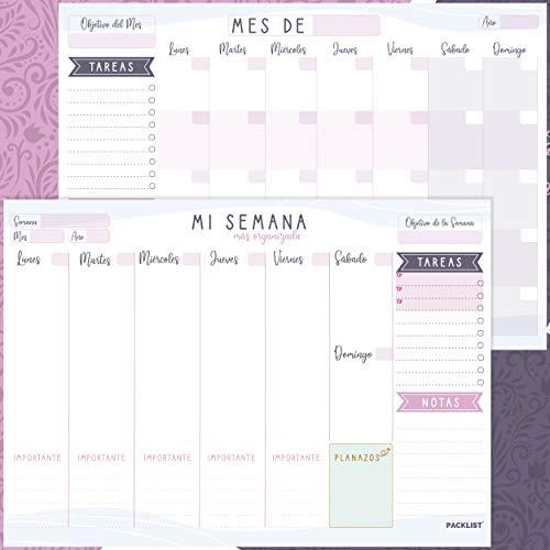 PACKLIST Planificador Semanal + Planificador Mensual - Pack de 2 planners Organizador Semanal + Mensual A4, Planning de Escritorio. Agendas, Planificadores y Calendarios Mes/Semana de Diseño Exclusivo
