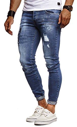 Leif Nelson Herren Jeans Hose Slim Fit Denim Blaue graue Lange Jeanshose für Männer Coole Jungen weiße Stretch Freizeithose Schwarze Cargo Chino Sommer Winter Basic LN9315 Blau W31/L32