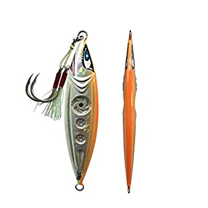 Otomin 1pc/4pcs Vertical Saltwater Slow Jigging Fishing Spoons with Hooks Pitching Lures Jigs Jigging Fishing Artificial Baits 5.29oz 7.05oz 8.82oz (Orange, 1pc 150g)