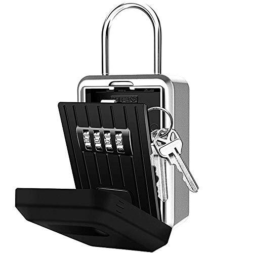 Loboo Idea Tragbarer Schlüsselschloss, 4-stellige Kombinationsschloss, zurücksetzbarer Code, wetterfest, zum Aufhängen oder an der Wand montiert, ultra-stabiler Schlüsselsafe für Schmuck
