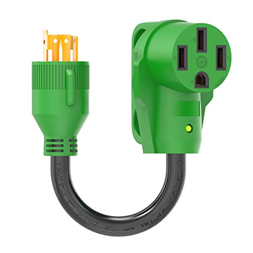 RVGUARD 4 Prong 30 Amp to 50 Amp RV Generator Adapter Cord 12 Inch STW, L14-30P Locking Male Plug to 14-50R Female with LED Power Indicator, Green