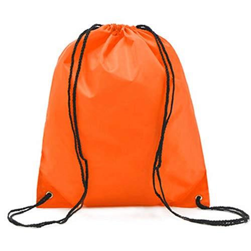Parshall Bolsa con cordón para gimnasio, mochila con cordón, para casa, oficina, apartamento, picnic, escuela, playa, viajes, gimnasio, 34 x 39 cm, color naranja