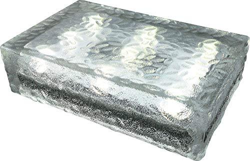 FUCHS Mattonella Solare LED Vetro bianco caldo 23x15x6 cm – per l\'illuminazione del percorso (antiscivolo)