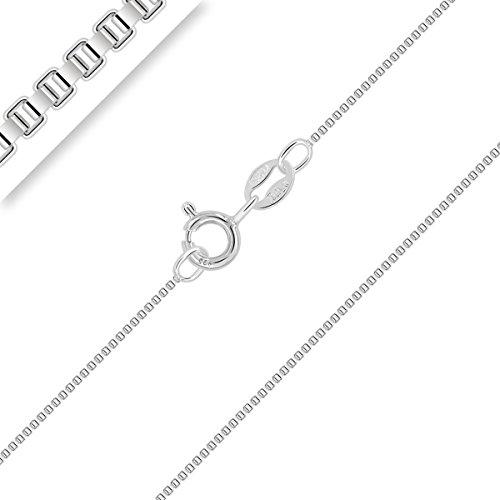 PLANETYS - Kinder und Baby Venezianierkette 925 Sterling Silber Rhodiniert Kette - 1 mm Breite Längen: 38 cm