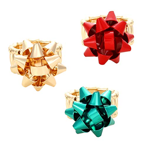 Isaloe 3 Pieces Christmas Bow Ring Stretchable Gold Red Green Bow Rings Holiday Parties Gift (6.5)