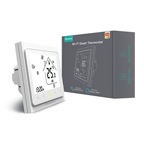 MoesGo Termostato programable para calentamiento de agua y regulador de temperatura activado por wifi para hogar digital, compatible con las apps Smart Life y Tuya, y con Alexa y Google Home