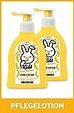 sanosan Pflegelotion Banane für Kinder - Lotion mit Bio Olivenöl & Milchprotein im