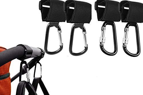 HyAdierTech Kinderwagen Haken 4 packs, Kinderwagenhaken mit Klettverschluss zum für Wickeltasche Taschen Einkaufstasche, Stroller Hooks für Rucksack Rollstuhl Fahrrad Spielzeug Karabiner Haken
