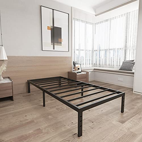 ZIYOO 14 Inches Heavy Duty Metal Bed Frame,Premium Bed Foundation,Noise Free&Anti-Slip Sturdy Iron Bed Platform,Black Platform Bed No Box Springs Needed, 800 lbs Weight Capacity Limited(Twin XL)