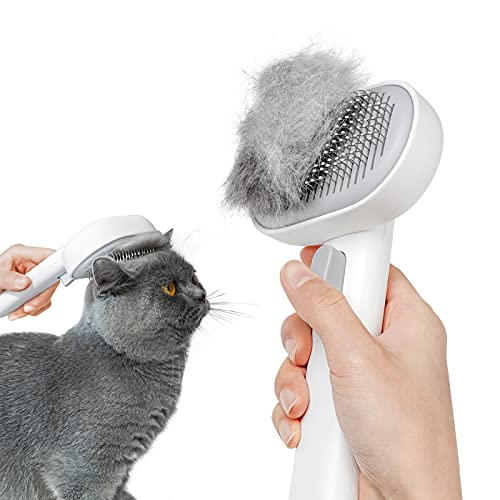 Aumuca Cat Brush for Shedding and Grooming, Self Cleaning Slicker Brush for Short or Long Haired Cats, Pet Dog Hair Brush for Puppy Kitten Massage...