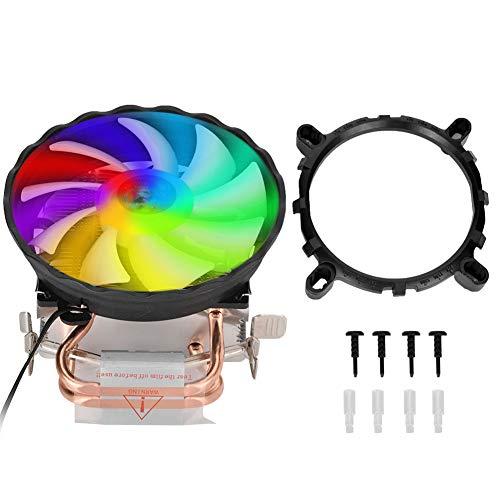 2 heatpipe CPU-koeler, CPU-ventilator, kleurrijk ademlicht CPU-koeler voor Intel LGA775 / LGA 1155/1156/1366 enz. Compatibel met U-vormige warmtepijp/geluidsarme warmteafvoer