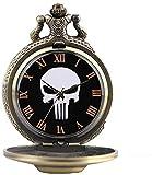 Reloj de Bolsillo para Hombres, Mujeres, niños, niños, PAL, Collares, Cabeza de Calavera Malvada, Reloj de Bolsillo de Cuarzo, Moda, Colgante Fresco, con Cadena, Relojes de Bolsillo