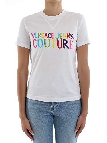 Versace Jeans Couture - Camiseta de mujer con logo multicolor y blanco blanco M