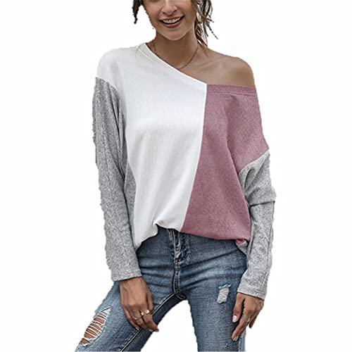 ZFQQ Camiseta Casual de Manga Larga con Cuello en V y Costuras Multicolores para Mujer de otoño e Invierno