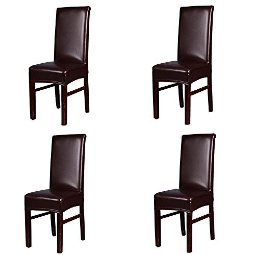 iEventStar impermeable elástico cubierta de la silla de comedor silla de piel sintética proteger funda protectora (Marrón)