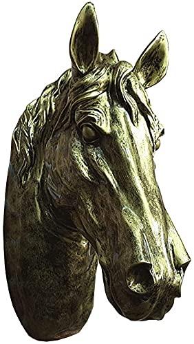 TAIDENG Inicio Monte en la Pared Escultura Cabeza Cabeza Escultura Colgante de la Pared, Estatua del Busto de Caballo Estatua Retro de la Pared Pintado a Mano Handmade Resin Accesorios Decorativos