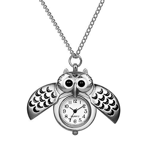 Avaner Eulen Taschenuhr Halskette Damen und Herren Analog Quarz Kettenuhr Lovely Pocket Watch mit Kette als Weihnachten Geschenk für Mädchen Girls