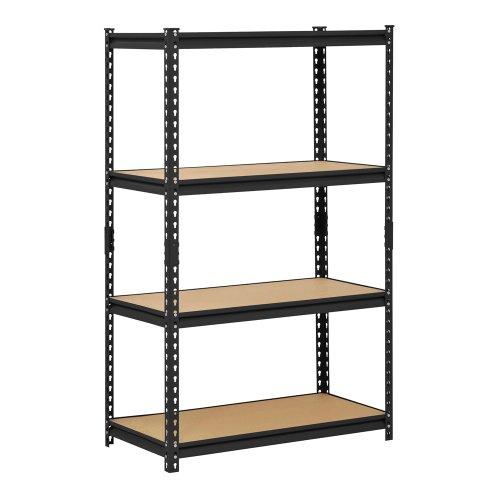 Muscle Rack URWM364BLK Estante de almacenamiento de acero negro, 4 estantes ajustables, capacidad de 2000 libras, 60 pulgadas de alto x 36 pulgadas de ancho x 18 pulgadas de profundidad