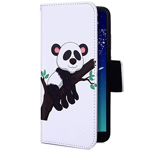 Uposao Kompatibel mit Handyhülle iPhone XS Max Handy Tasche Bunt Retro 3D Muster Brieftasche Ledertasche Klapphülle Klappbar Lederhülle mit Kartenfach Leder Flip Wallet Cover,Panda Baum
