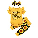 Renotemy Newborn Girl Clothes Outfits Ruffle Short Sleeve Tops + Floral Pants Sets Spring Fall Summer Baby Girl Clothes 3-6 Months Black