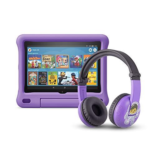 Das neue Fire HD 8 Kids Edition-Tablet (32 GB, violette kindgerechte Hülle) mit PlayTime-Bluetooth-Headset (Altersklasse: 3-7 Jahre)