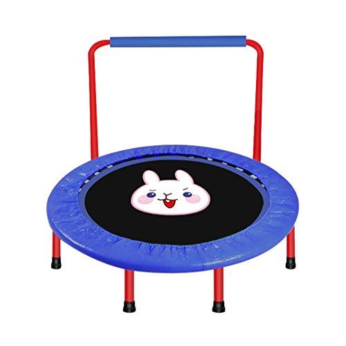 Cama elástica plegable para fitness con amortiguación silenciosa, con protección de bordes, carga máxima de 120 kg, adecuada para ejercicios de fitness infantiles., blue