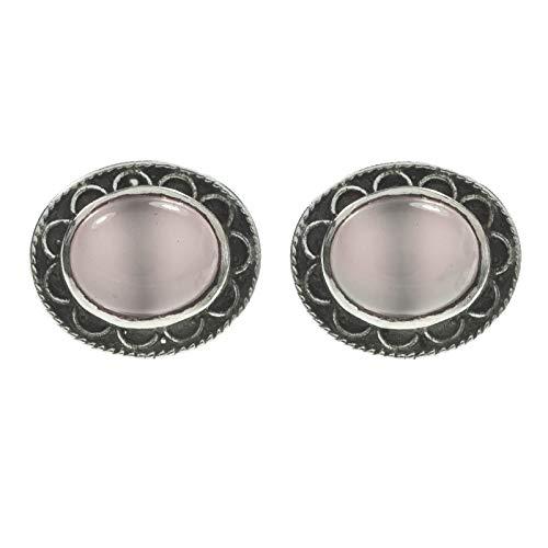 Pendientes de cuarzo rosa Plata de Ley diseño flor - Pendientes de piedras naturales