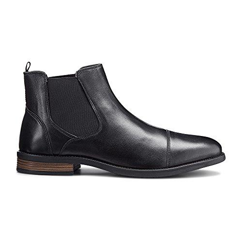 Cox Herren Chelsea-Boots aus Leder, Stiefeletten in Schwarz mit Rutschfester Laufsohle Schwarz Glattleder 43