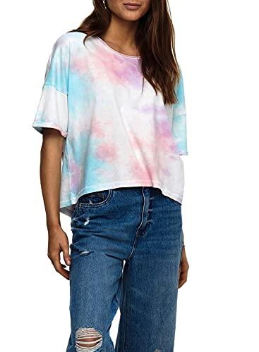 ONLY Damen ONLZOEY Life TIE DYE DNM SS Tee QYT T-Shirt, Dusty Turquoise/AOP:Option 2 Purple/Blue/Coral, M