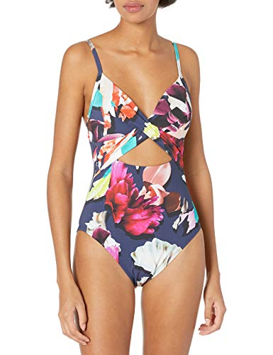 Kenneth Cole New York Women's Over The Shoulder Push Up Mio One Piece Swimsuit, Multi//Dark Romance, S