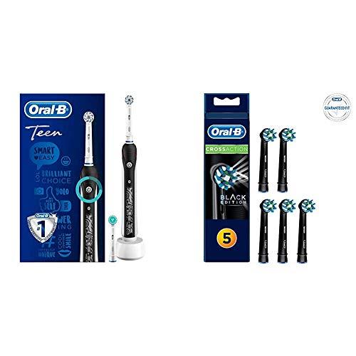 Oral-B Teen + confezione con 5 testine CrossAction Black - nero