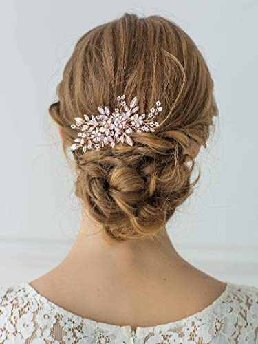 SWEETV Rose Gold Hochzeit HaarKamm Braut Haarschmuck Blume Haarspange Kamm Kopfschmuck für Frauen