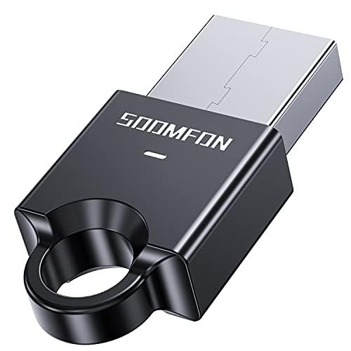 Adaptador Bluetooth 5.0 Para PC-SOOMFON Dongle USB Bluetooth Adaptador PC Para ordenador, portatil, auriculares, altavoz, teclado, compatible con Windows 10,8,8.1,7,Linux