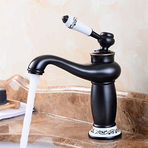 Grifo Lavabo Vintage de Cuenca Individual de Control de de Agua Caliente Fría Rústico Baño Grifo Lavabo Antiguo Cerámica Floral con Mezclador Monomando para Lavabo de Cocina (Negro)