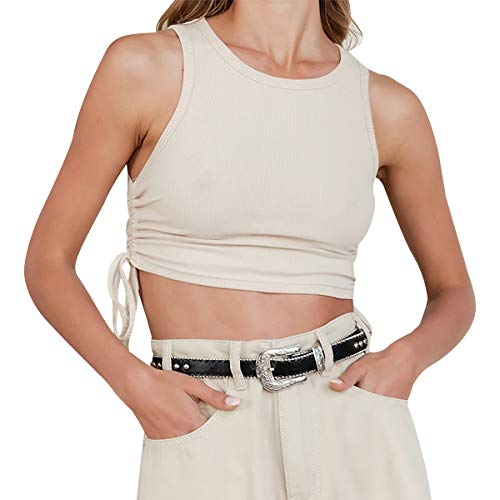 Ritera Camiseta con Sujetador y Top Corto para Mujer sin aro, Camiseta básica sin aro, Ropa Interior de Yoga Deportiva de Verano