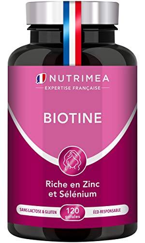 BIOTINE | Vitamine B8 accélère la pousse des cheveux, renforce ongles, peau éclatante | Avec Pépins de Courge, Zinc et Sélénium | 120 gélules vegan | Fabrication Française | Nutrimea