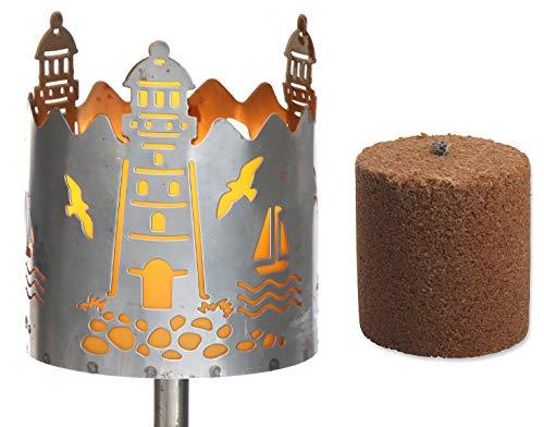 Novaliv Gartenfackel Leuchtturm Feuerschale Metall mit Stiel und Brennmittel