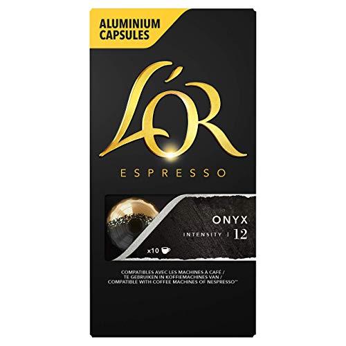 L'OR Espresso Kaffee Onyx Intensität 12 – Nespresso®* kompatible Kaffeekapseln aus Aluminium - 10 Packungen mit 10 Kapseln (100 Getränke)