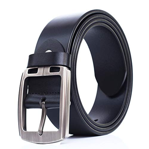 "Full-grain Leather Belt For Men Top Quality, pin buckle, for 32""-34""/BLACK XXS"