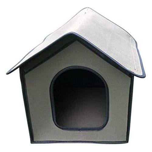 Caseta para gatos impermeable para perros, caseta para perros, caseta para perros, caseta para mascotas, refugio para exteriores, color gris, talla M