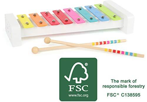 Small Foot- Xylophone « Sound » en Bois, certifié 100% FSC, aux Motifs colorés, développe Le Sens Musical Jouets, 11117, Multicolore