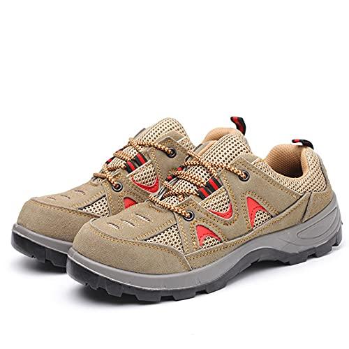 Zapatos de Seguridad,Hombres Aire Liviano Calzado de Trabajo con Punta de Acero Transpirable Zapatillas de Seguridad,antideslizantes y resistentes al desgaste,Zapatos de construcción,Marron,gris