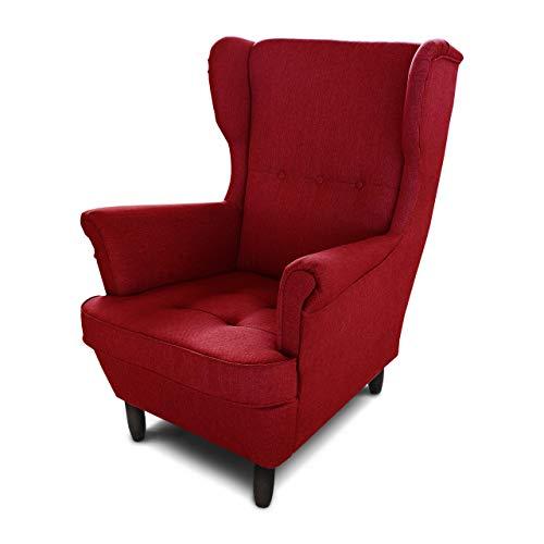 Ohrensessel Sessel King - Lounge Sessel mit Armlehnen - Retro Stuhl aus Stoff mit Holz Füßen - Polsterstuhl für Esszimmer & Wohnzimmer (Rot (Inari 60), ohne Hocker)