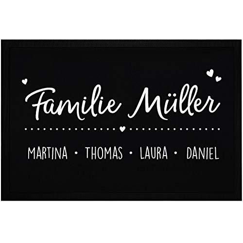 SpecialMe® Fußmatte mit Namen Familie Vornamen Familienname Herzen personalisiert rutschfest & waschbar weiß 60x40cm