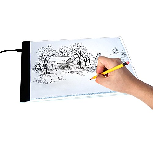 Delaman Tavolo Luminoso Disegno Light Table, A4 Box LED con Cavo USB per Artisti Sketch Animazione Design Stencil Casa E Cucina Hobby Creativi Arredi Accessori (33,5 23,3 Cm) Light