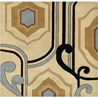 Area Rug Alliyah Handmade Cream New Zealand Contemporary Abstract Wool Blend Rug 6 X6 Square Furniture Decor