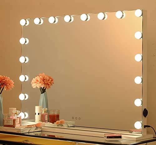 iCREAT Hollywood Espejo de lujo Vanity con iluminación, espejo de mesa, ajuste de brillo libre con 3 colores de luz, experiencia de maquillaje profesional, 80 x 60 cm, con 18 luces LED regulables