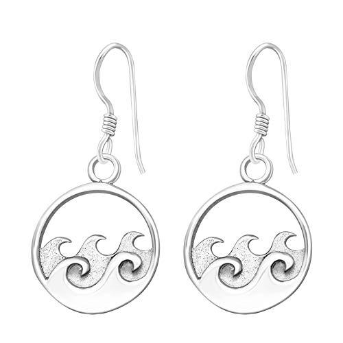Monkimau Damen Ohrringe Surfer Wellen Ohrhänger aus 925 Sterling Silver Silber