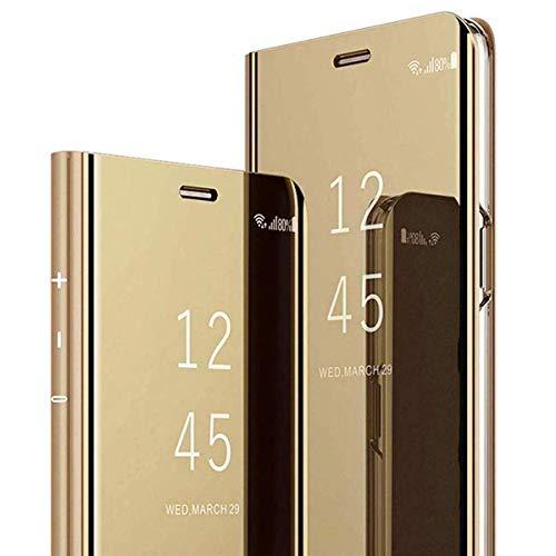 Dclbo Funda para Samsung Galaxy A5 2017 / A520, funda de espejo rígida de policarbonato de plástico, funda de espejo, funda fina de piel sintética, función atril para Galaxy A5 2017/A520, color dorado