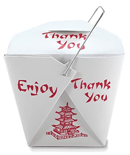 Pack of 50 Chinese Take Out Boxes Pagoda 16 oz/Pint Size Party Favor and Food Pail (50)
